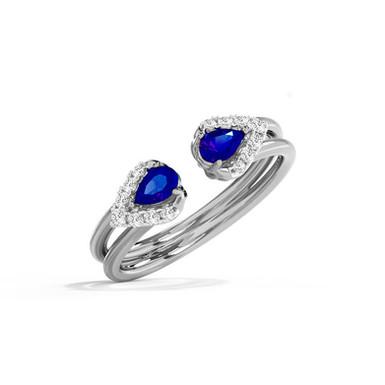 DemiLune Bleu, Bague Diamants Joaillerie pour Femme Or Blanc 18 carats