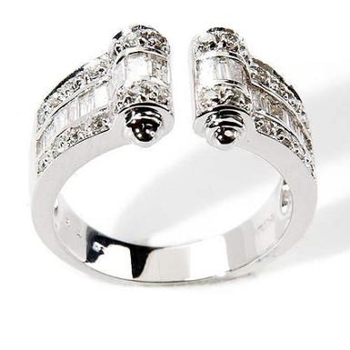 DemiLune FbyG, Bague Diamants Joaillerie pour Femme Or Blanc 18 carats
