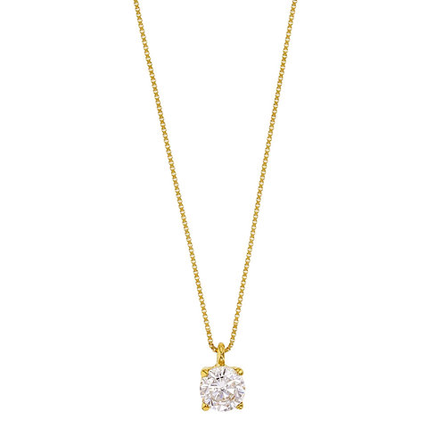 PurLove, Collier avec son Pendentif Diamant Solitaire G / VS Or Jaune 18 carats