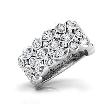 ELIA, Bague Alliance Diamants pour Femme Or Blanc 18K 750°
