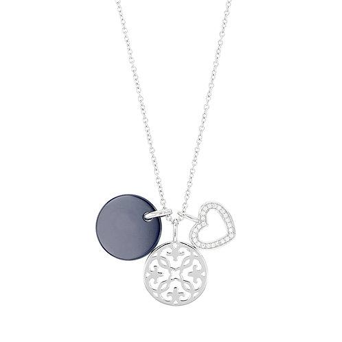 TRIO, collier pour femme en argent 925 et céramique 45 cm ajustable