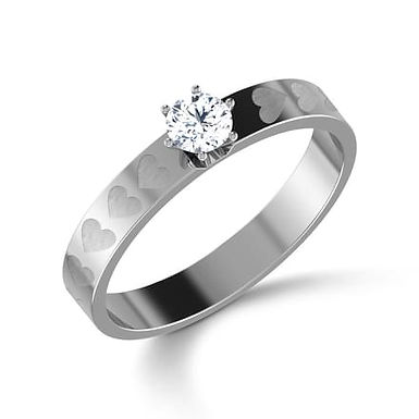 MON COEUR, Bague Diamant Solitaire Or Blanc 18 carats