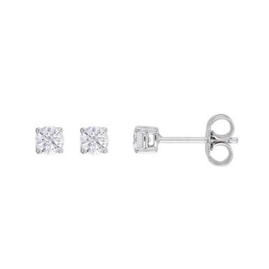 """Boucles d'Oreilles """"Puces"""" Diamant Solitaire Certifié IGI Or Blanc 18 carats"""