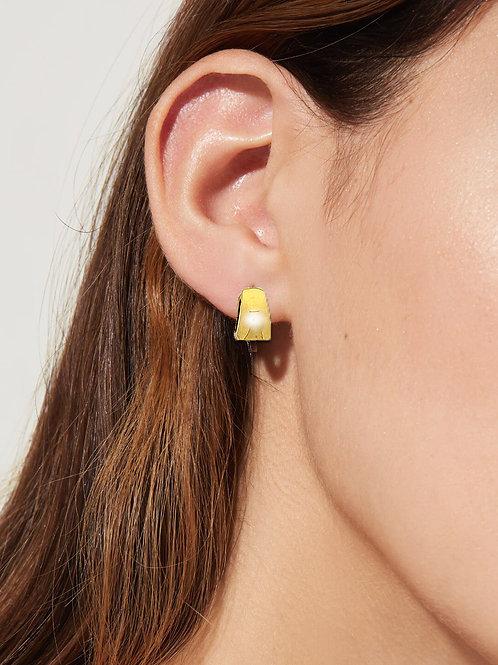 """Créoles """"Estelle"""" plaqué or jaune 3 microns pour femme à clip"""
