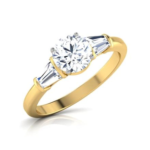 SOLENE, Bague Alliance Diamants Solitaire 1,01 carat pour Femme Or Jaune 18 carats