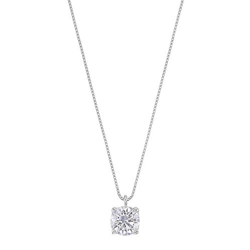 Classic, collier pendentif diamant en oxyde solitaire pour femme Or Blanc 18 carats