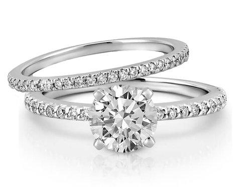 Duo bagues diamants solitaire en oxyde de zirconium argent 925