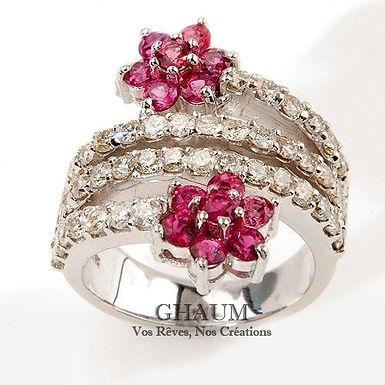 Romantic FbyG, Bague Diamants Saphirs pour Femme Or Blanc 18 Carats