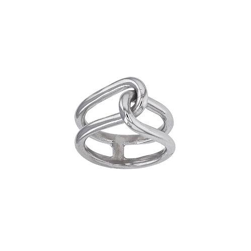 Bague motif cadenas, en argent rhodié 925/1000 or blanc