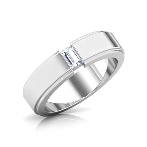 GABRIEL, Bague Alliance Diamant Solitaire Homme Or Blanc 18 carats