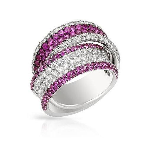 MYSTIQUE, Bague Diamants Saphirs Roses pour Femme Or Blanc 18 carats 750°