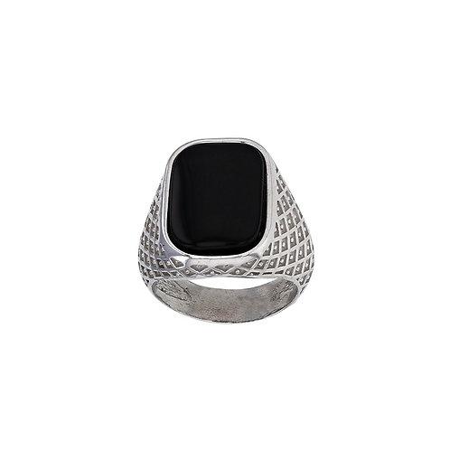 Chevalière NEO-BAROQUE argent 925/1000 rhodié or blanc et agate noire