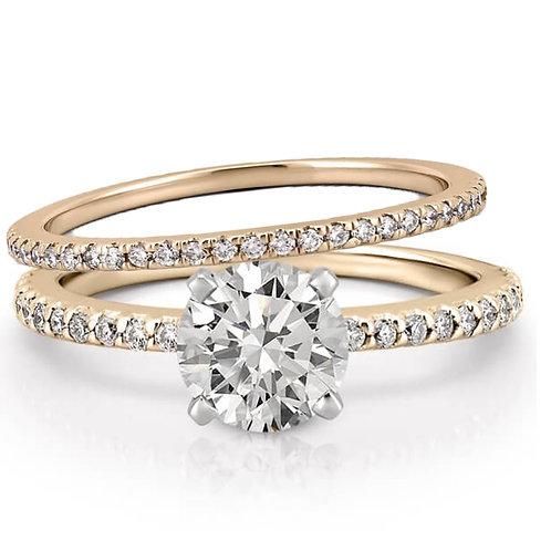 Duo bague diamants et solitaire en oxyde de zirconium plaqué or jaune