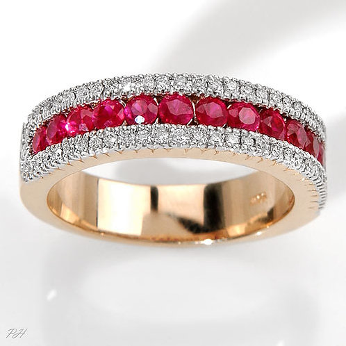 AMANDINE, Bague Alliance Diamants Rubis pour Femme Or 18K 750°