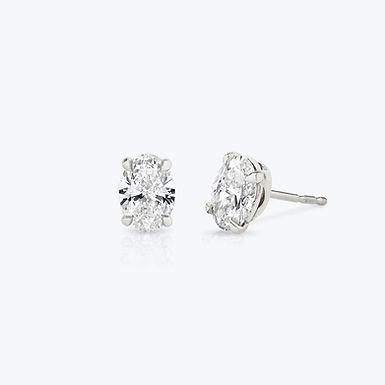 Mahé, Boucles d'Oreilles Diamant Solitaire 1 cts / D-E / VS / Or 18 carats