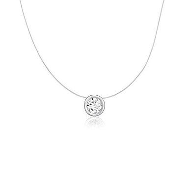 Lucie, collier pendentif diamant en oxyde solitaire pour femme Or 9 carat