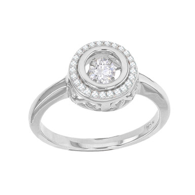 JULIA LOVE, Bague Alliance Solitaire Dansant Or Blanc 18 carats