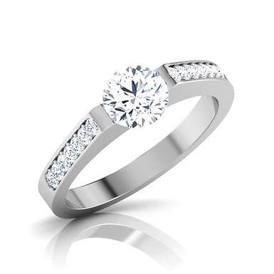 EVA, Bague Alliance Diamants Solitaire pour Femme Or Blanc 18K 750°