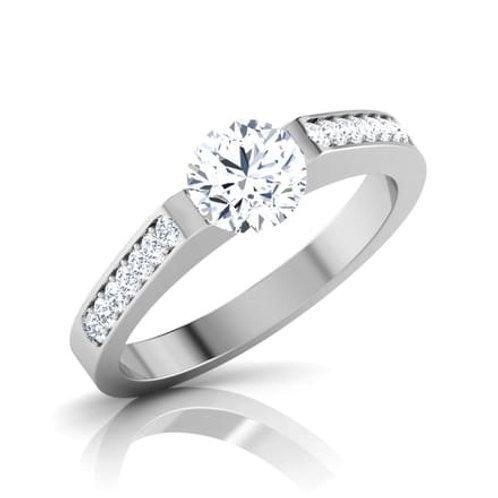 """Bague Alliance Diamants Solitaire pour Femme """"Eva"""" Or Blanc 18K 750°"""