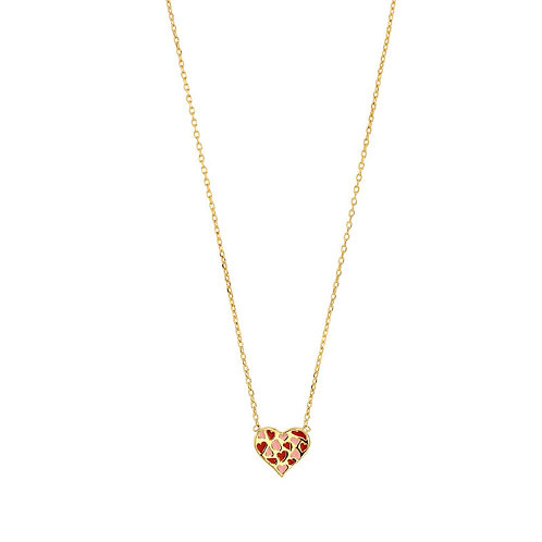 Red Love, Collier Plaqué Or Jaune Email pour Femme