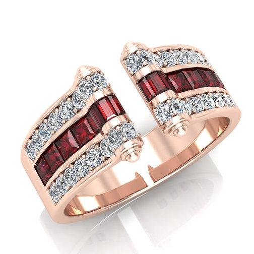 VENDOME ROYALE, Bague Joaillerie Diamants Rubis pour Femme Or Rose 18 carats