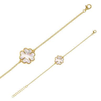 Bracelet Triple-Lov Argent 925 Rhodié Or Jaune Nacre de Tahiti pour Femme