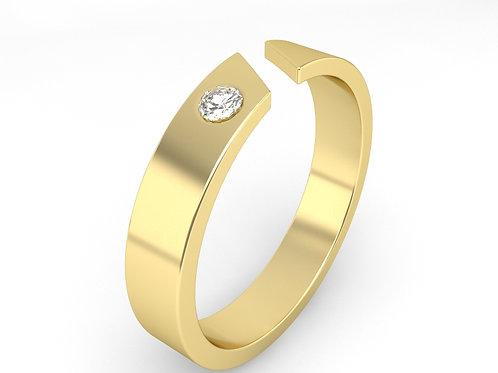 ARTHUR, Bague Alliance Diamant Solitaire Homme Or Jaune 18 carats