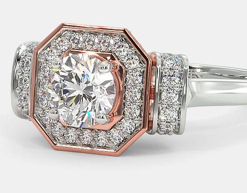Bague Diamant Solitaire Deux Tons Or 18 carats, ART-D