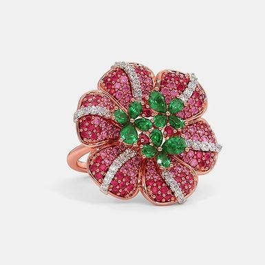 Fleuralys, Bague Diamants Saphirs Rubis Emeraudes Or Rose 18 carats