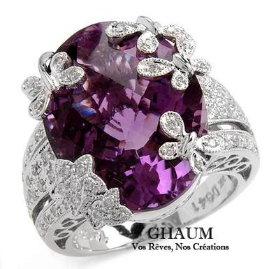 Papillon FbyG, Bague Diamant Améthyste pour Femme Or Blanc 18 Carats