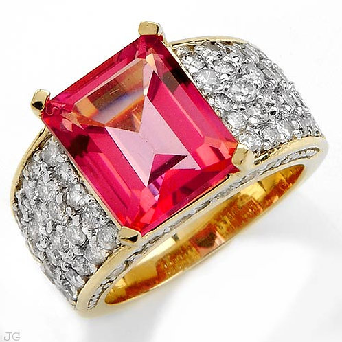 OMBELINE FbyG, Bague Diamant Topaze Rouge pour Femme Or Jaune 18 Carats
