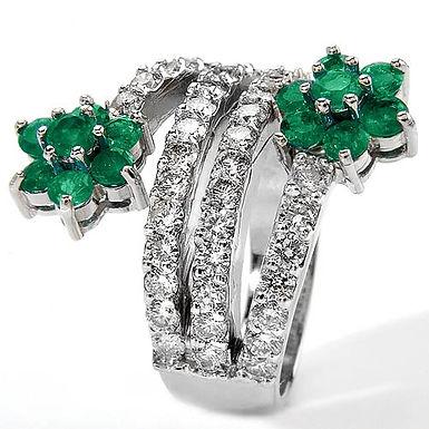 Romantic FbyG, Bague Diamants Emeraude pour Femme Or Blanc 18 Carats