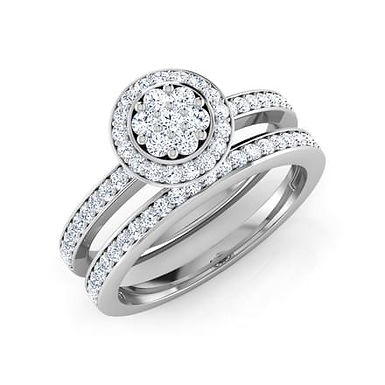 """Duo """"AVANTIKA"""" Bague Alliance Diamants pour Femme Or Blanc 18K 750°"""