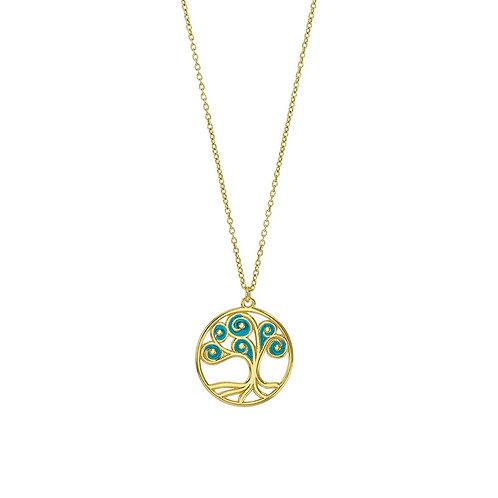 Collier argent 925/1000 doré arbre de vie émaillé bleu turquoise