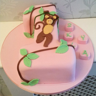 Little monkey with building block letters