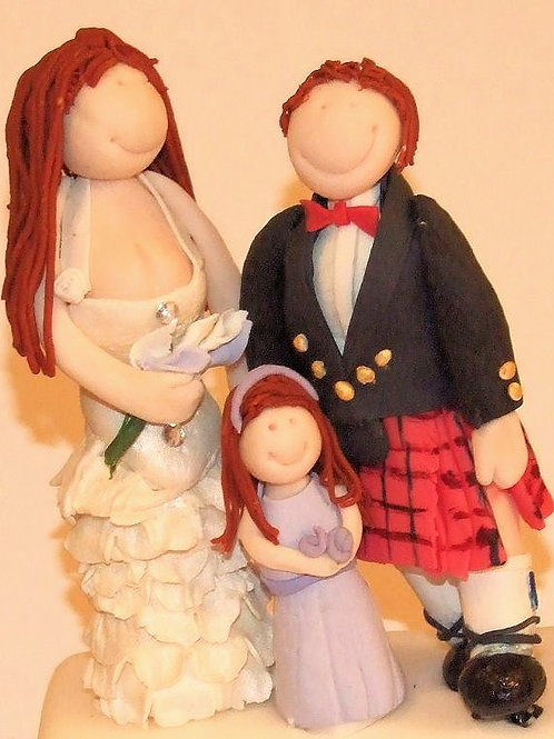Bride, Groom & Bridesmaid cake topper