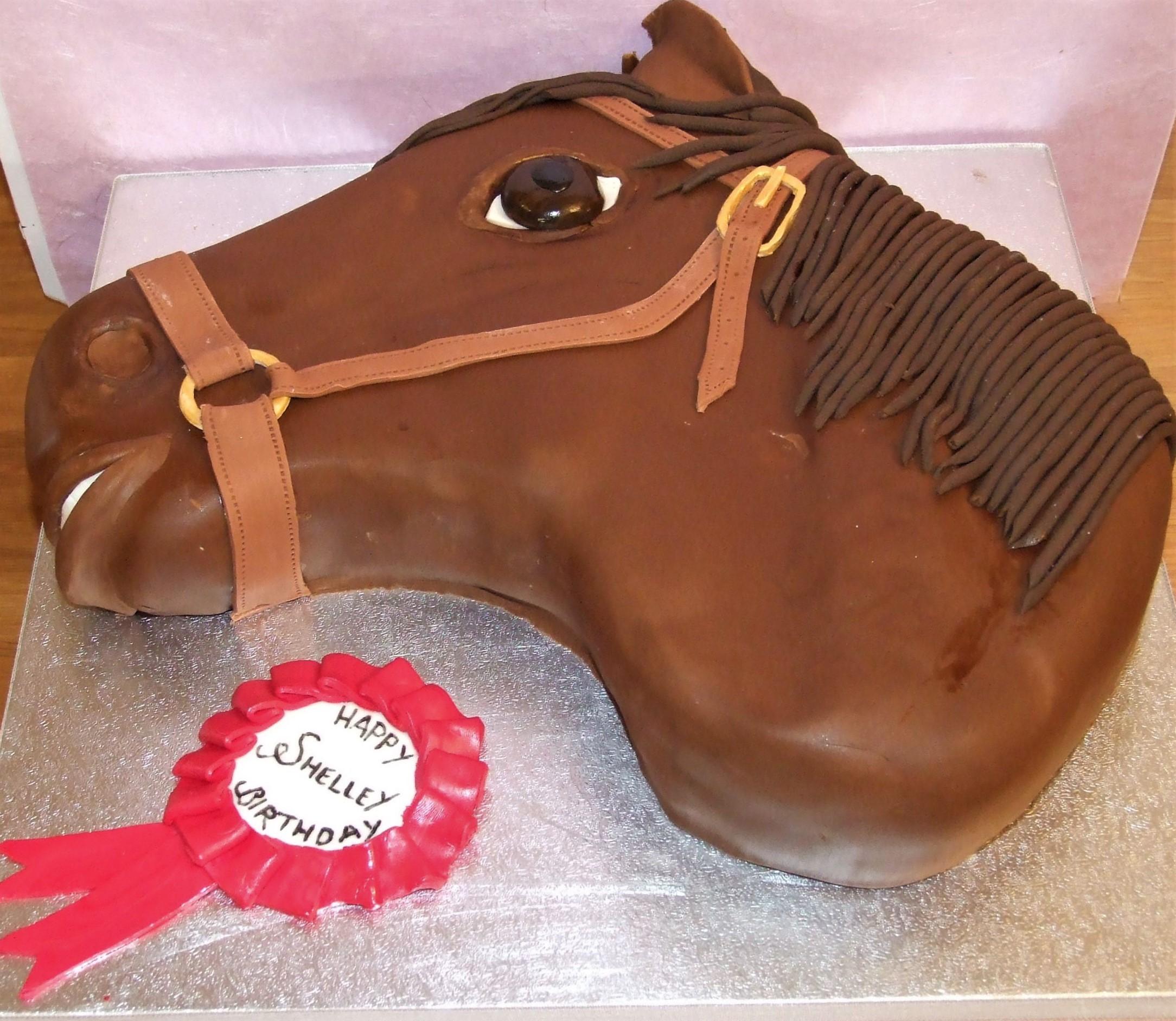 horse head and rosetter birthday cake_
