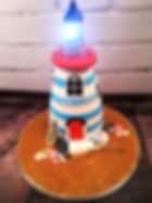 Lighthouse cake compete with lights in the glass dome