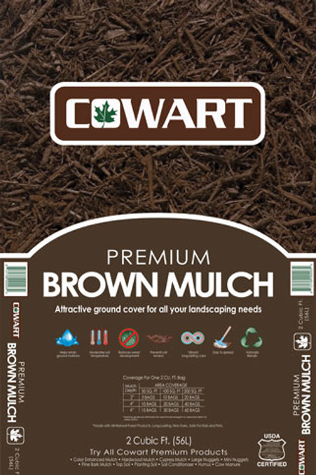 Brown Mulch, 2 cubic foot bag