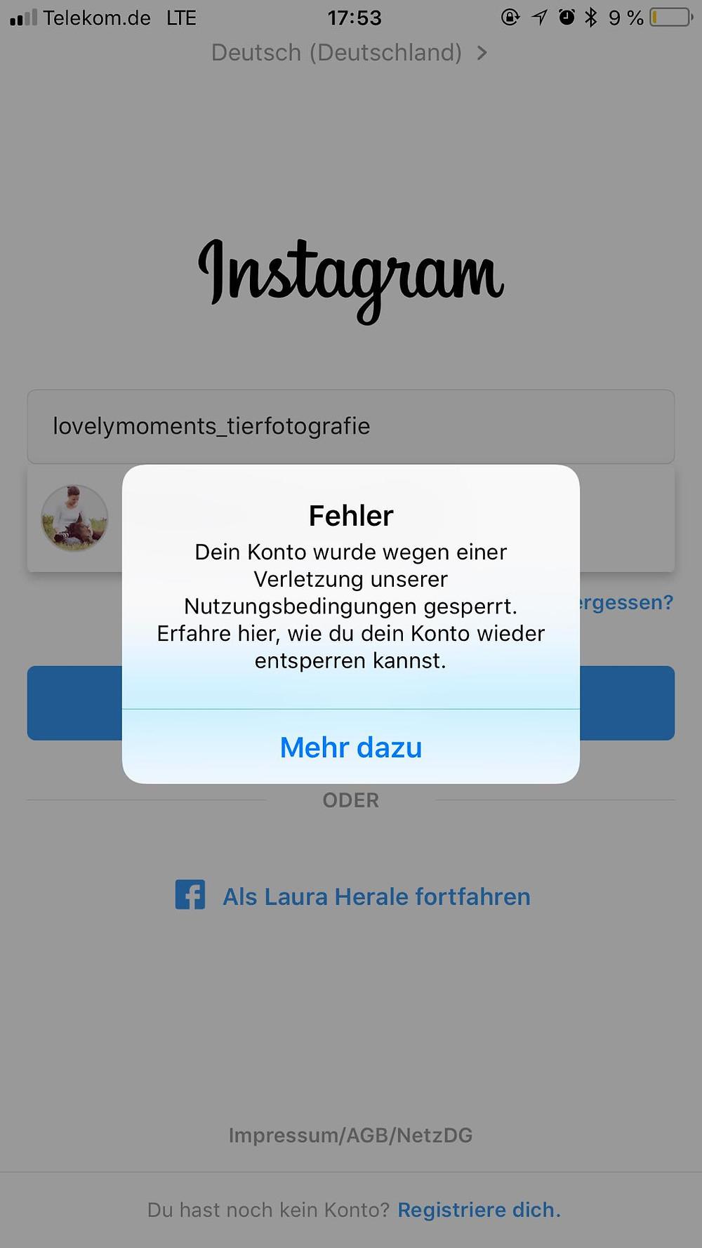 Auf sie instagram blockiert hat mich Wurde ich