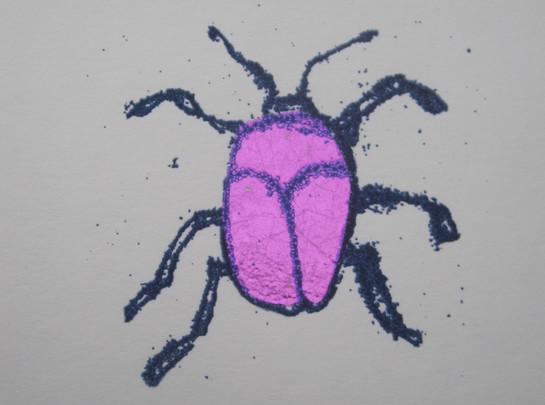 Pink Beetle, 6x6cm. Sold