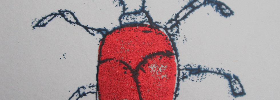 Red Beetle, 6x6cm.  Unmounted £15 + p&p.