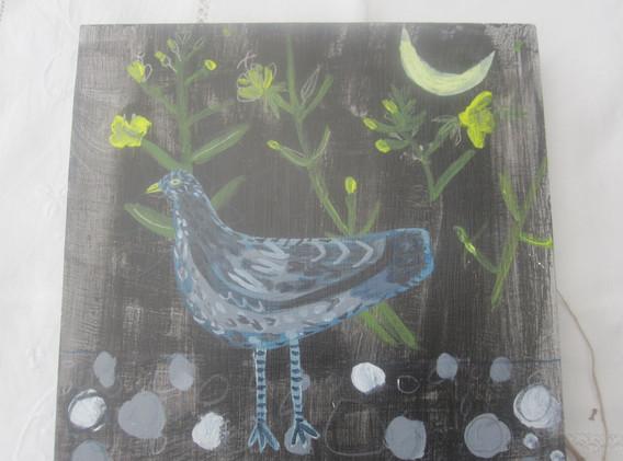 Evening Primrose & Black Bird, Mixed Media, Board, 21x21cm.  £80 + p&p.