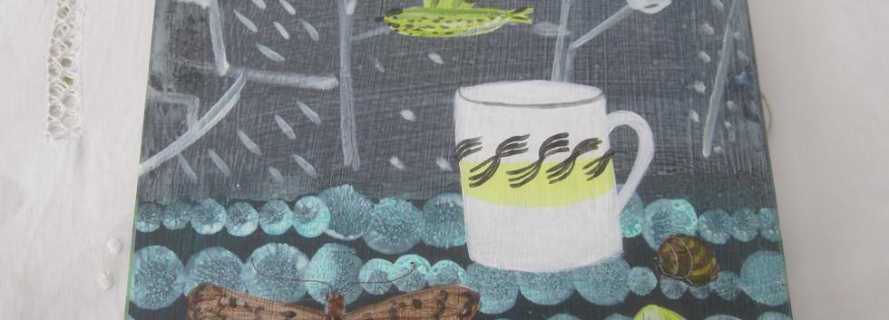 ER Garden Mug, Mixed Media, Board, 21x21cm.  £80 + p&p.