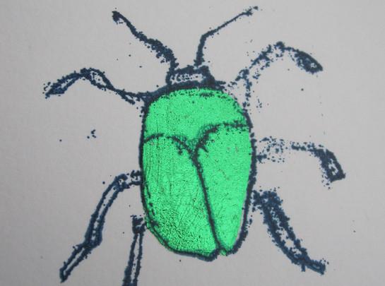 Green Beetle, 6x6cm.  Unmounted £15 + p&p.
