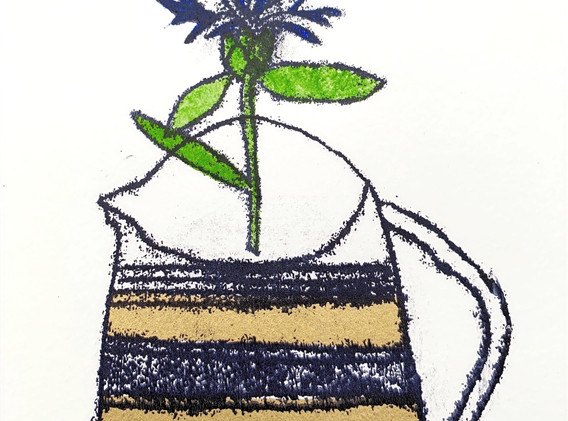 Gold Jug with Cornflower