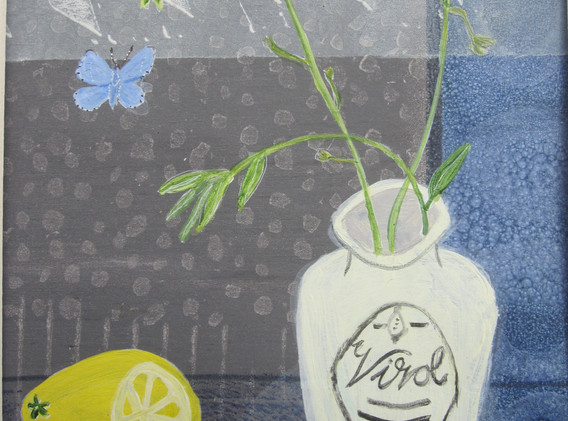 Virol Jar & Forget-Me-Not, Mixed Media, Paper, 12x17cm. Sold