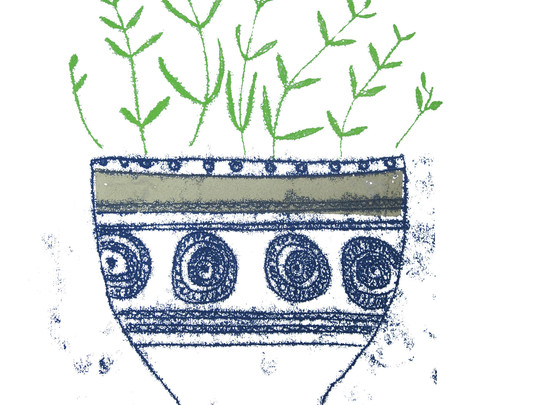 Bowl with Gold Stripe & Green Sprigs, 18x22cm. Unmounted £25 + p&p.