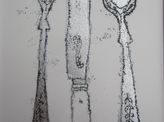 Vintage Fork, Knife & Spoon, 8x12cm. Unmounted £15 + p&p,