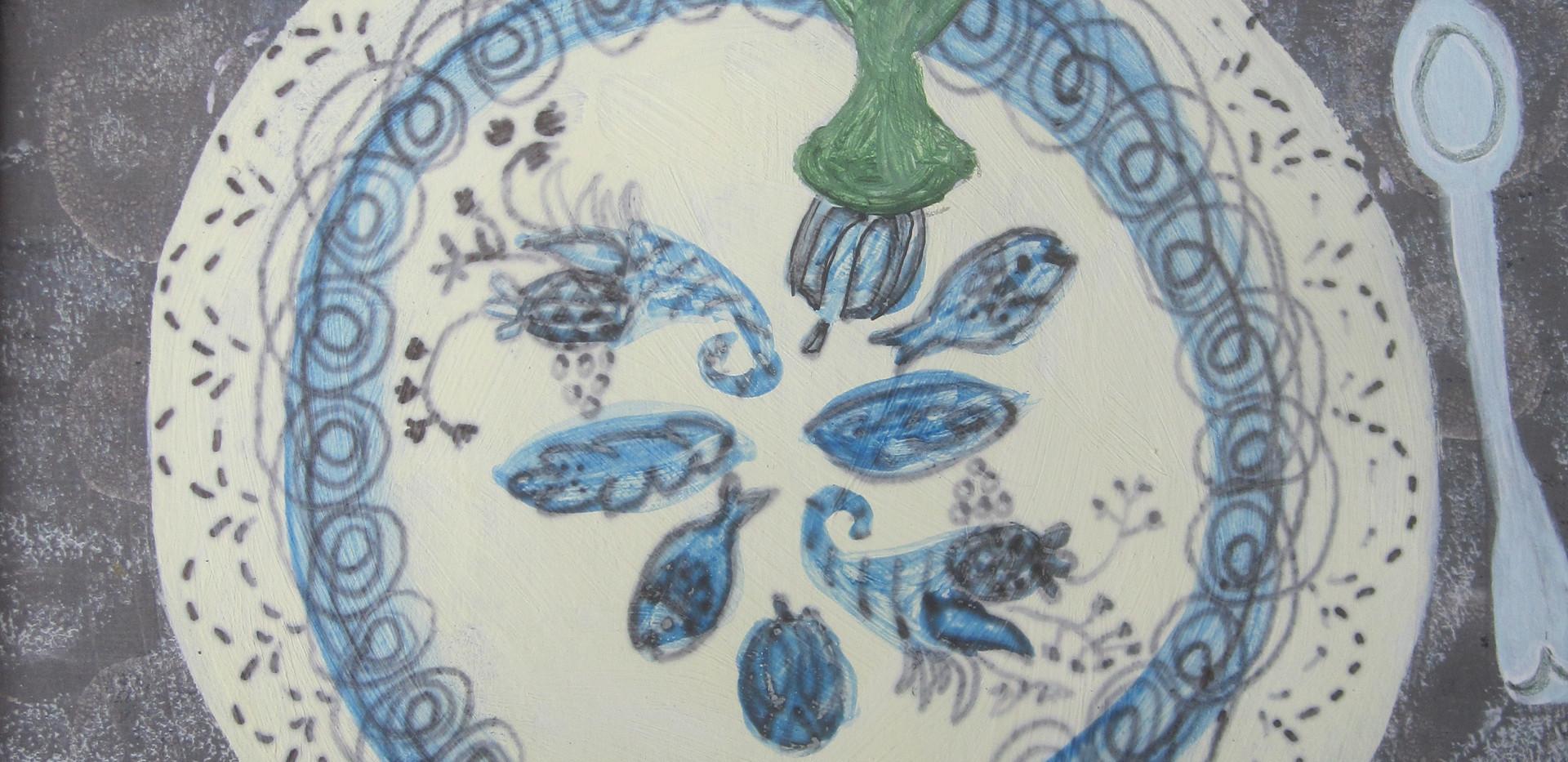 Autumn Tea, Mixed Media, Paper, 12x 17cm.  £95 + p&p